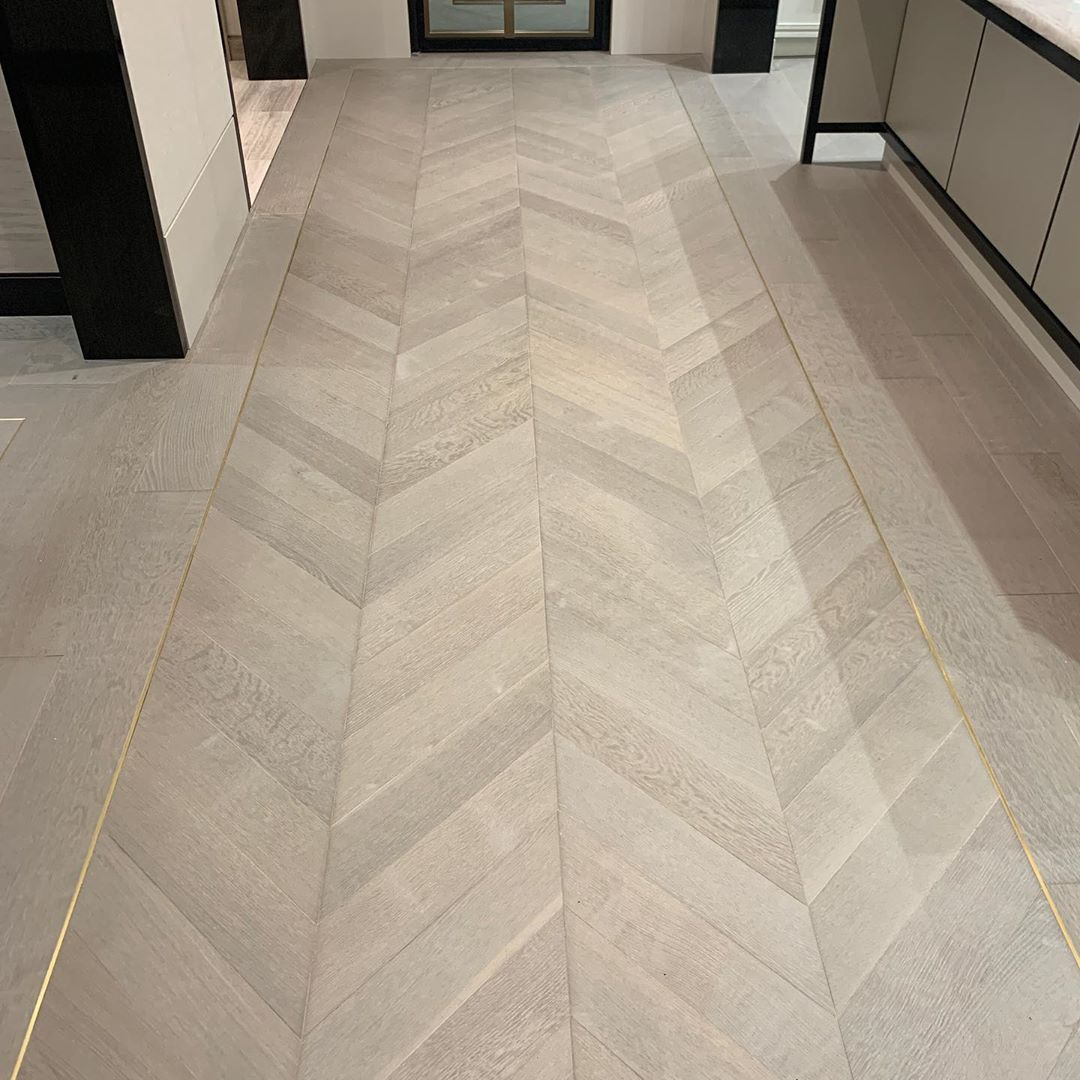 Brian Gluckstein On Instagram I Love A Chevron Floor In This Space I Installed A Taupe Washed Floor With Bras Herringbone Tile Floors Flooring Taupe Flooring