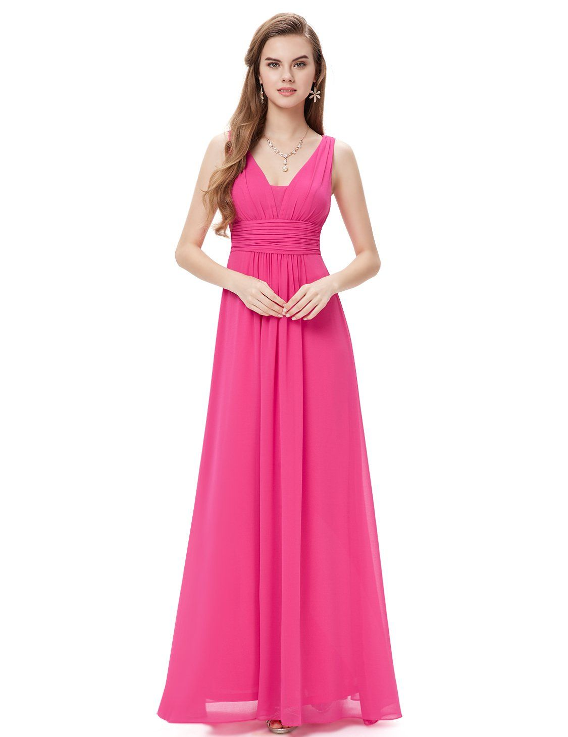 Ever Pretty Double V-Neck Ruched Waist Ladies Long Evening ...