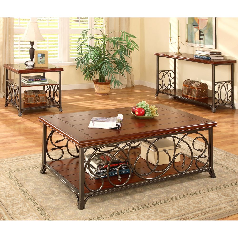 Scrolled Metal And Wood Coffee Table Ping The Best Deals On Sofa End Tables