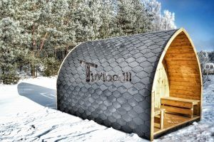sauna f r drau en winter mit elektroofen und veranda iglu timberin holzbadezuber badetonne. Black Bedroom Furniture Sets. Home Design Ideas