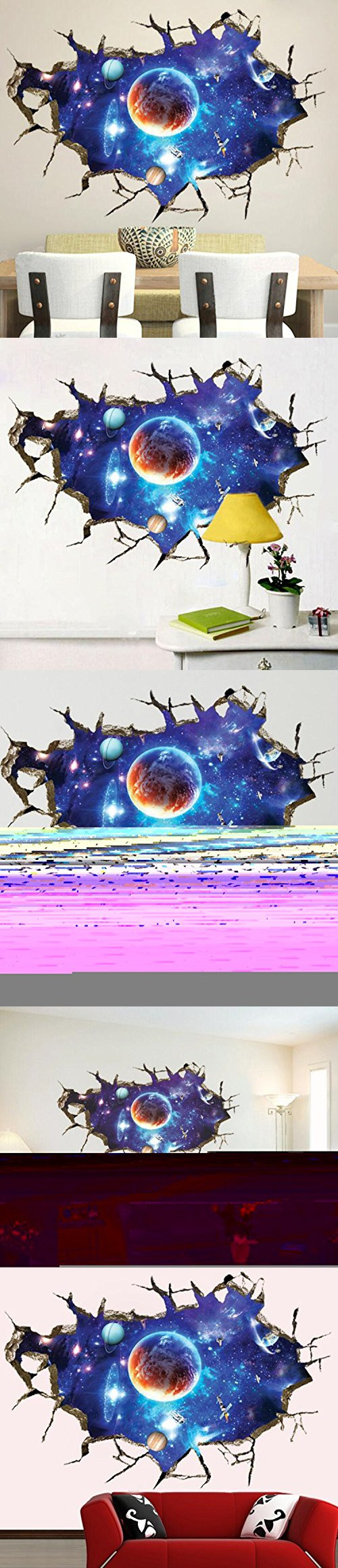 Highfs Removable 3d Cracked Wall Outer Space Stars Universe Planets Art Mural Vinyl Waterproof Wall Kids Room Wall Stickers Nursery Decals Wall Stickers Murals
