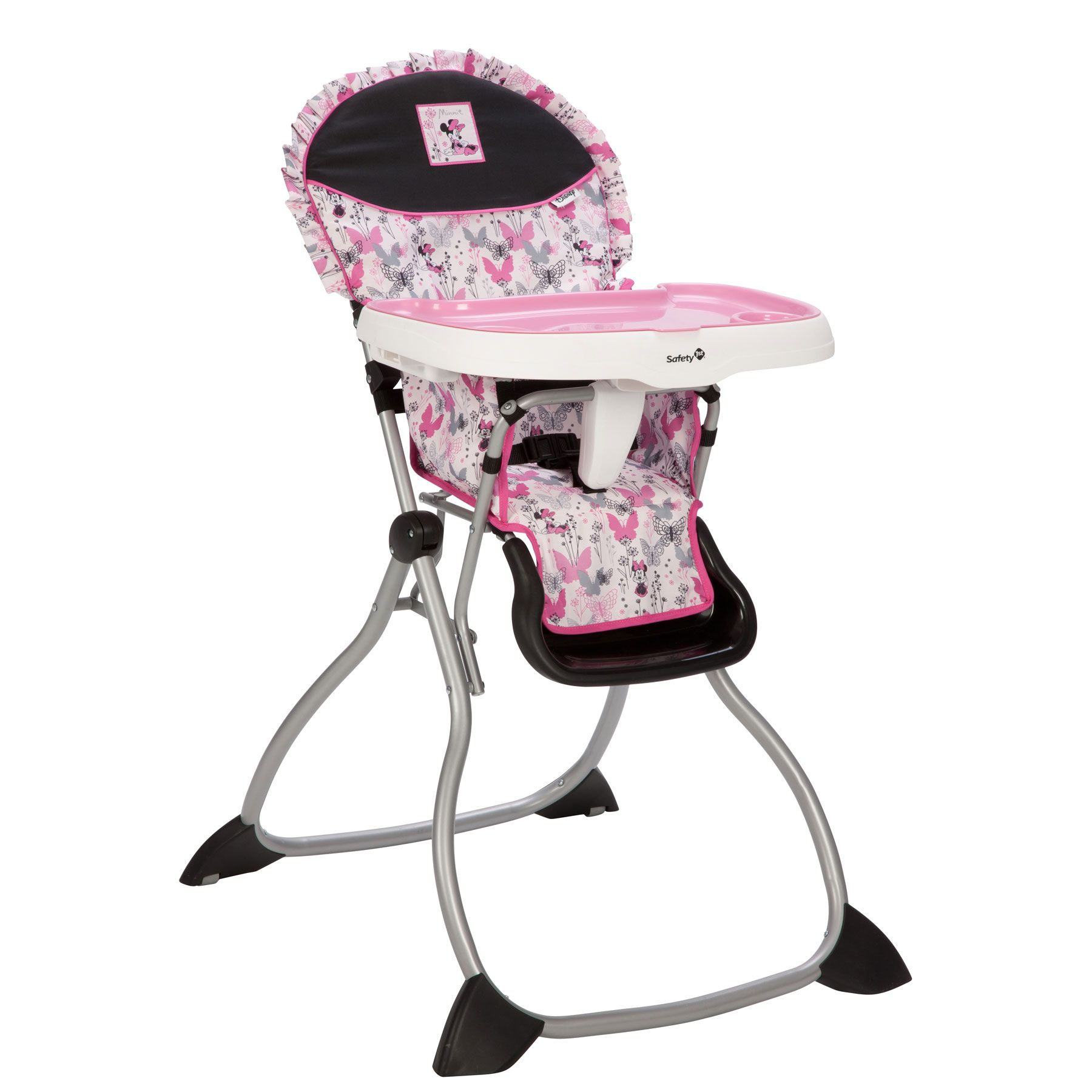 This pink grey and black Minnie Mouse high chair is as simple to