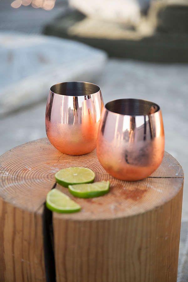 Slide View: 1: Copper Stemless Glasses Set