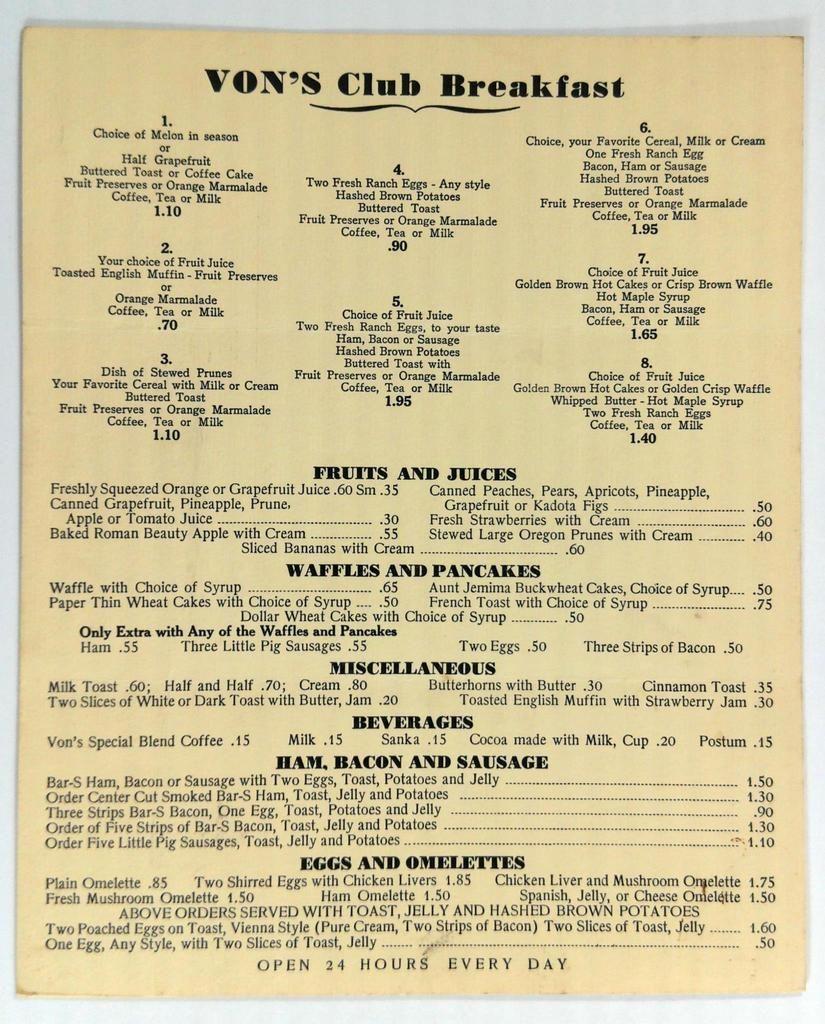 1960's 1970's VON'S Club Breakfast Original Menu Open 24
