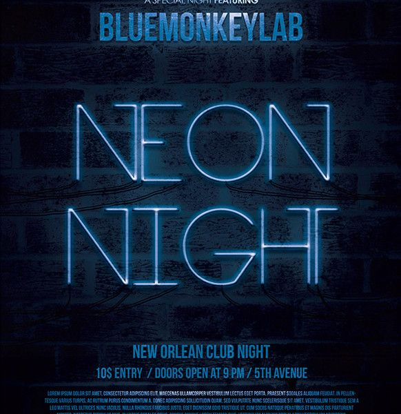 Free Neon Night Flyer And Poster Template  Fucklove