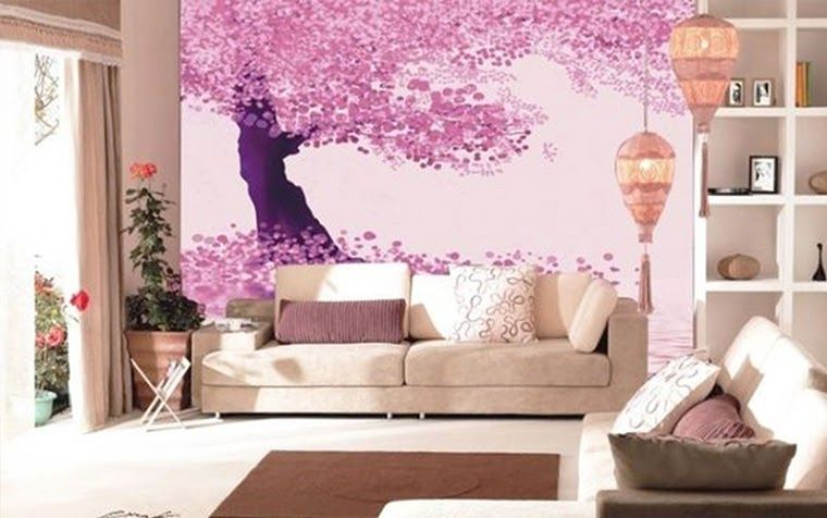 Wallpaper Dinding Kamar 3d Bunga