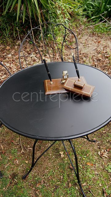 Table Wrought Iron Black Signing Table Set Available For Hire From