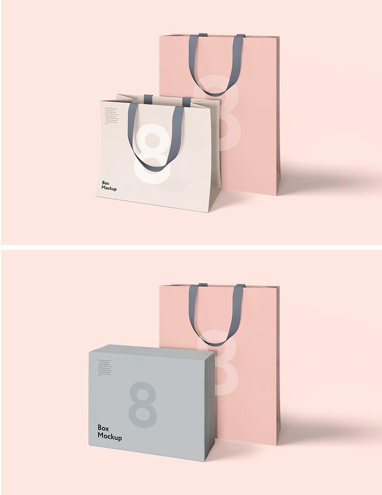 Download Luxury Box And Bag Mockups Bag Mockup Paper Bag Design Shopping Bag Design