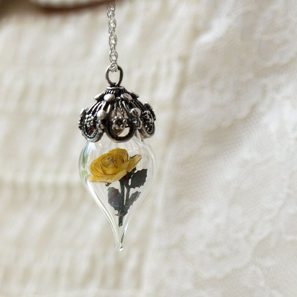 Sunny yellow rose flower tiny terrarium necklace glass vial by
