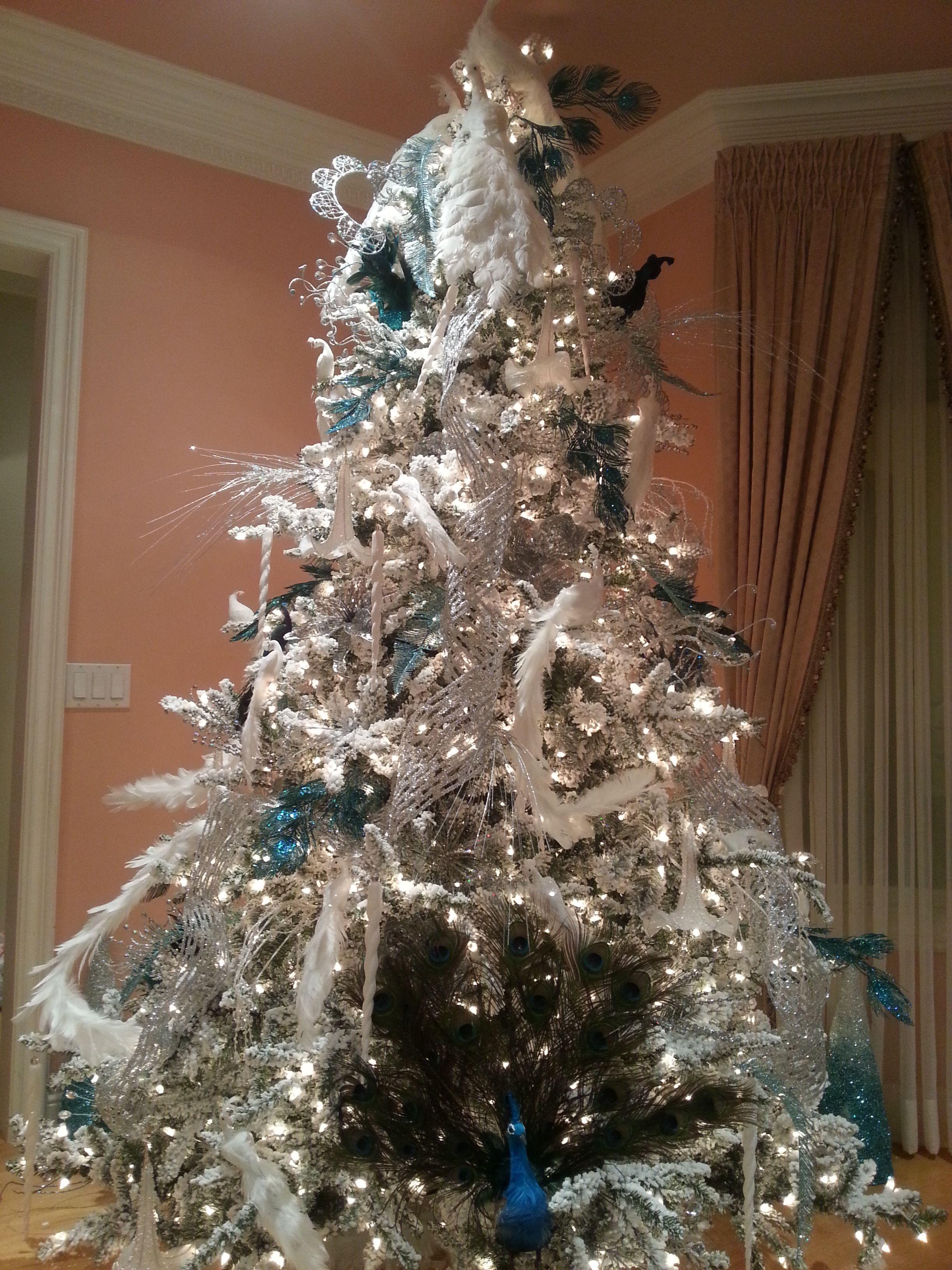 Blue And White Peacock Christmas Tree Navideno Navidad Arboles Navidenos