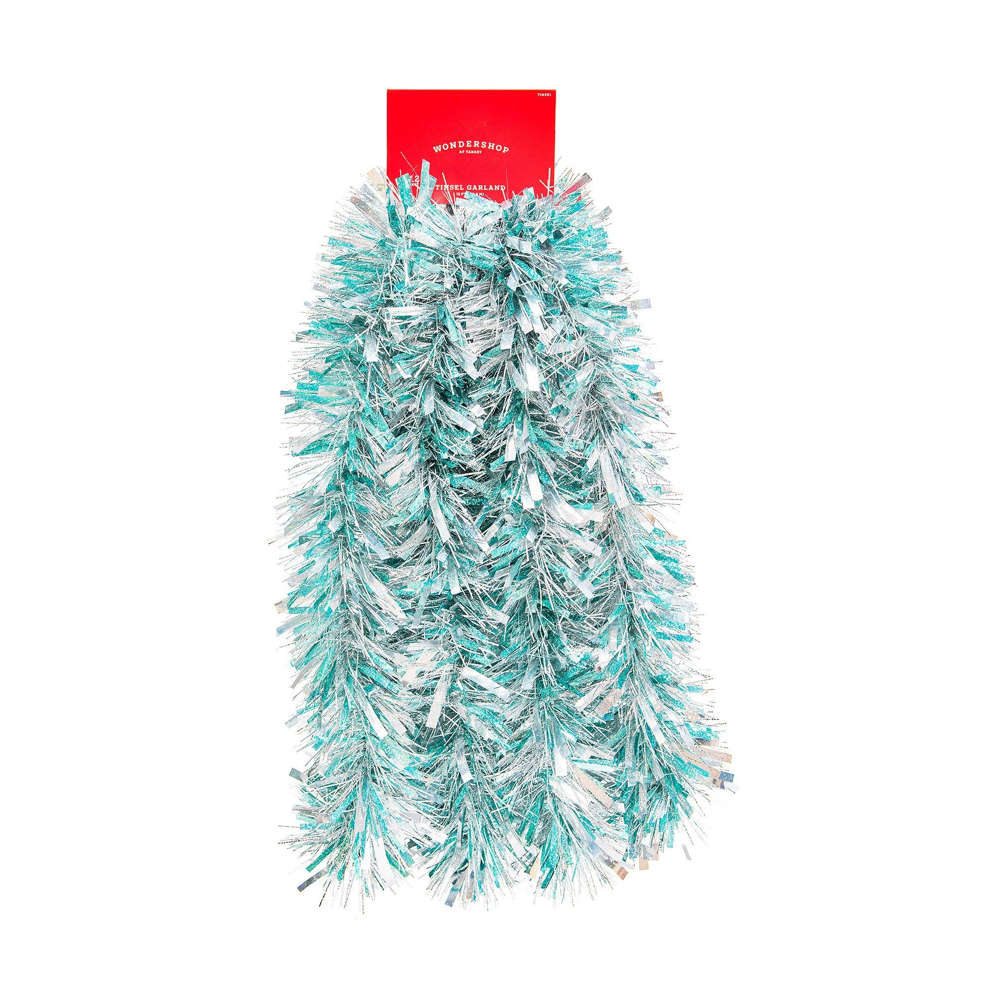 Christmas Tinsel Garland.12 Blue Silver Tinsel Garland Wondershop Products