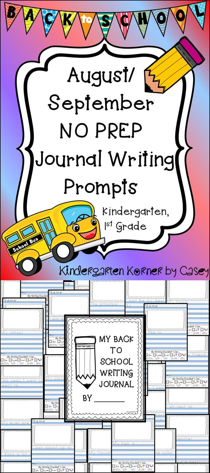 Monthly NO PREP Back to School August / September Journal Writing ...