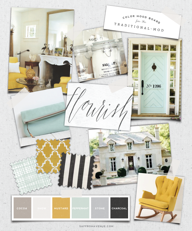 Mood Board Mint Mustard For The Traditional Mod With Images