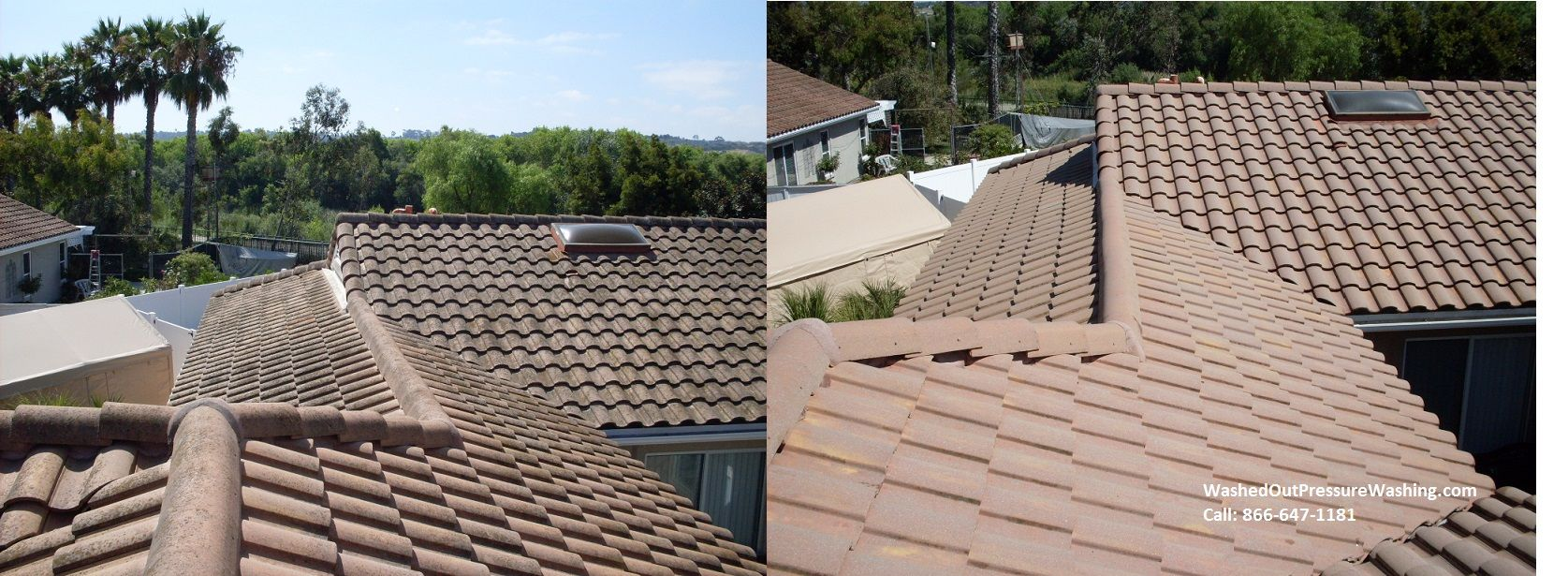 No More Black Growth After We Power Washed Steam Cleaned This Tile Roof Looks Much Better Now Roof Cleaning Pressure Washing Services Roof