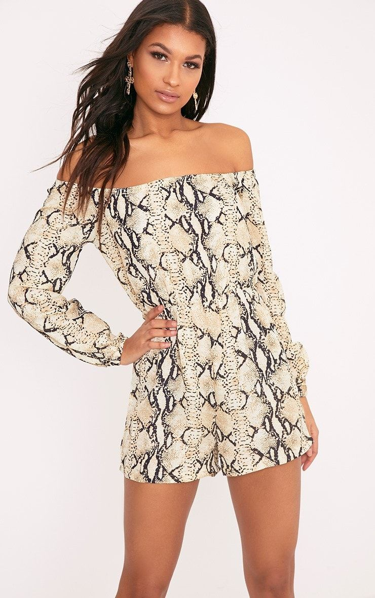 0011e844599 Taupe Snake Print Bardot Playsuit Featuring lightweight crepe fabric and on trend  bardot design,.