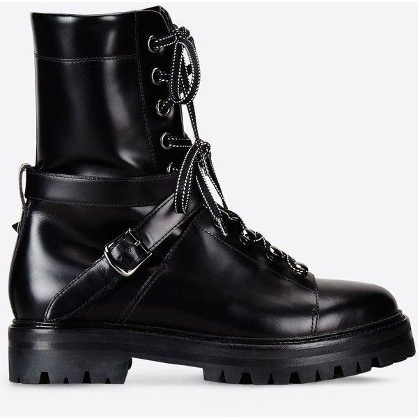 45a87f57b8b Valentino Garavani Rockstud Combat Boot ($1,077) ❤ liked on ...