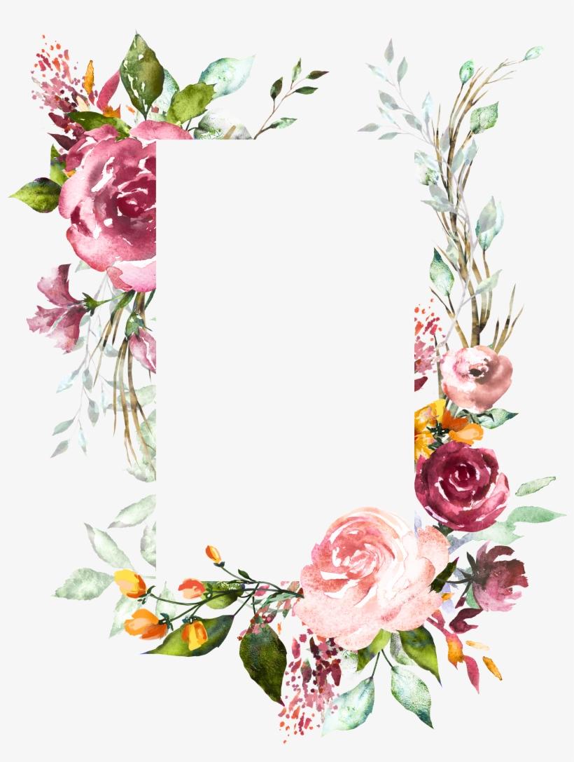 Download H804 Flower Frame Flower Art Watercolor Flowers Vintage Floral Wedding Invitat Vintage Flower Backgrounds Flower Art Watercolor Flower Background