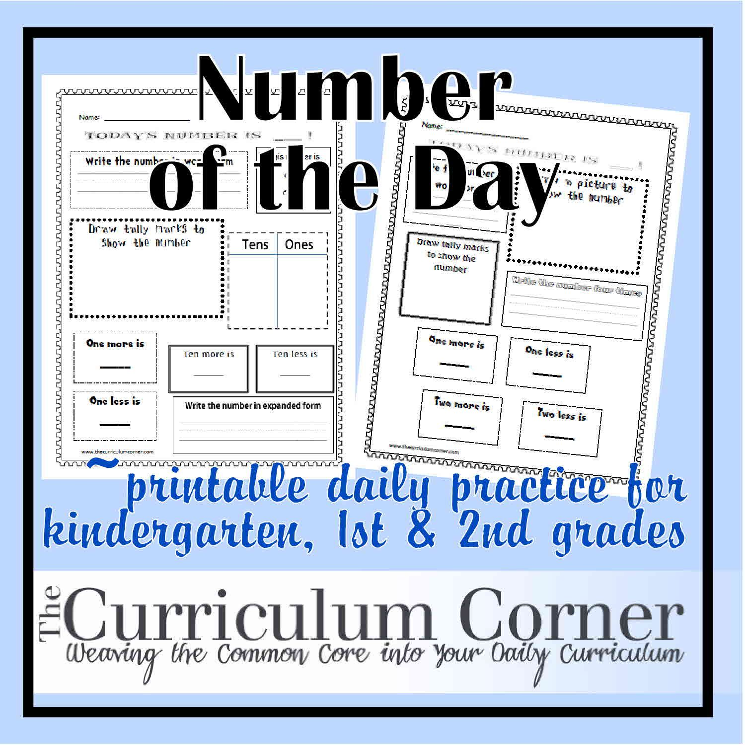 Kindergarten Calendar Common Core : Number of the day common core standards