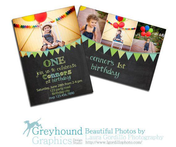 Card Template birthday card bunting banner chalk chalkboard Baby boy - birthday invitation card template photoshop