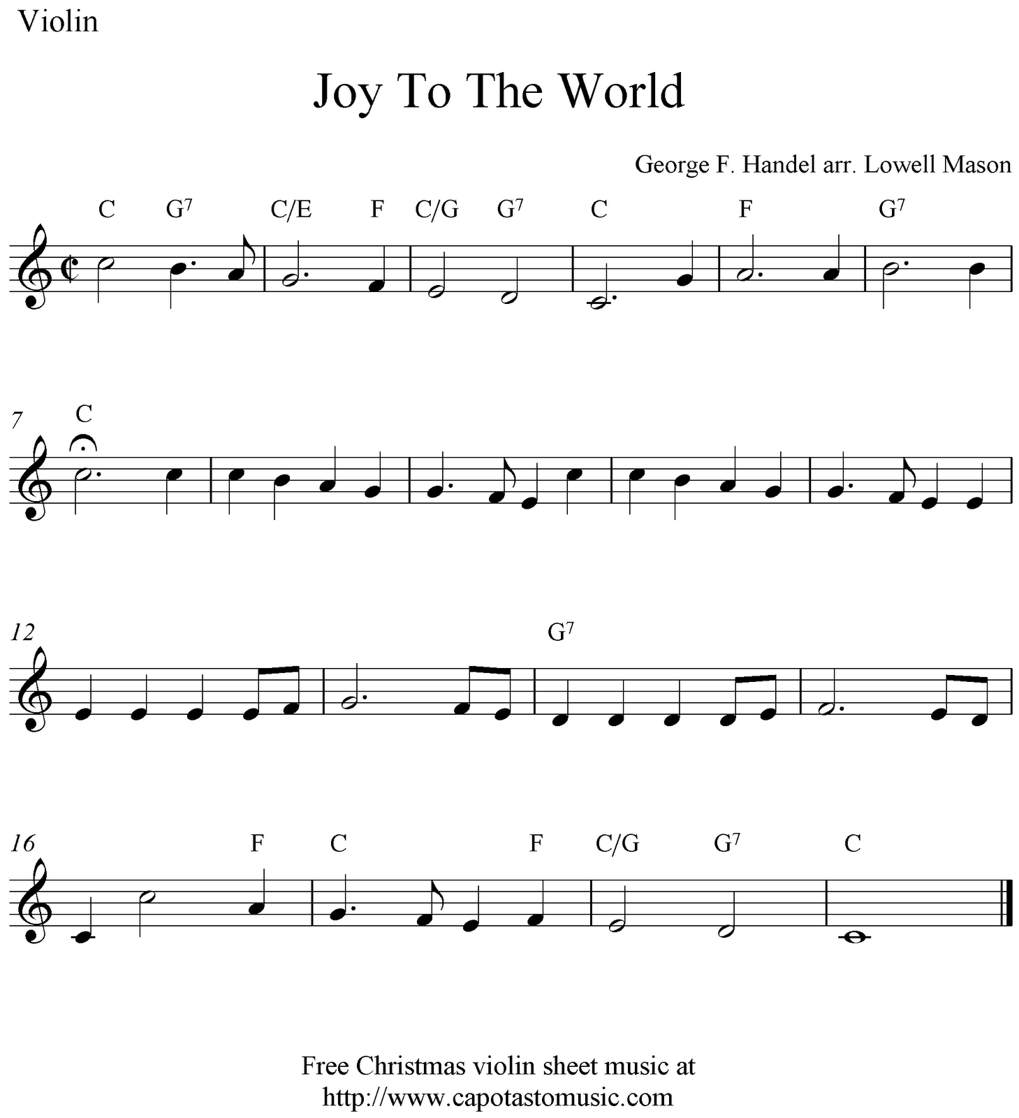 sheet music violin | Joy To The World, free Christmas violin sheet ...