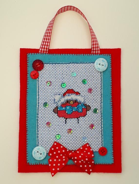 Christmas Robin cross stitch wall hanging/decoration with button and sequin detail