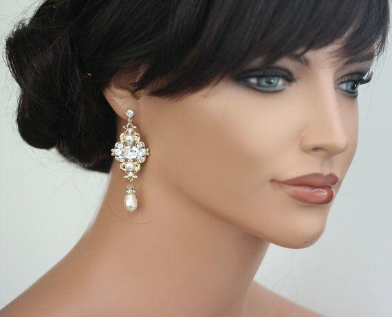 Gold Bridal Earrings Ivory pearl Wedding Earrings Swarovski Pearl crystals Vintage style Wedding Jewelry LEILA