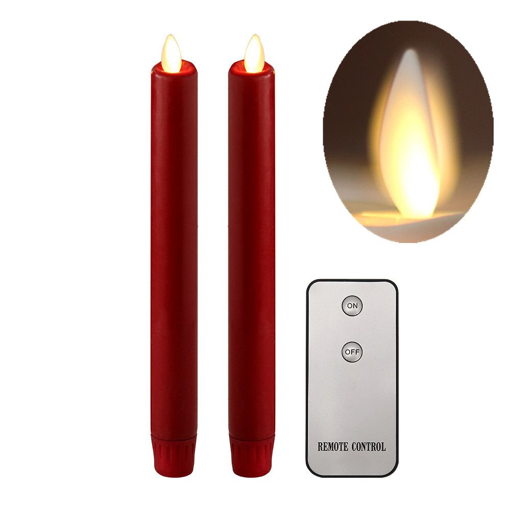 Nonno Zgf Led Moving Wick Taper Candle Red Wax Unscented Flameless Taper Candle With Timer 8 For Candlestick Candle Ho Led Taper Candles Candles Taper Candle