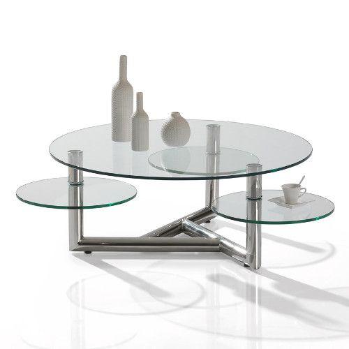 Table Manhattan Table ronde dessus verre trempé 10mm 3 plateaux