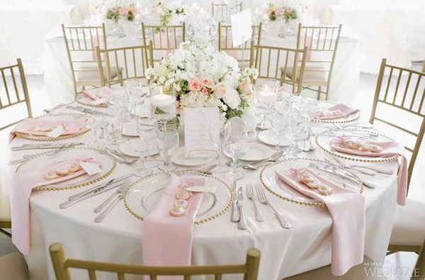 Pink Champagne White Wedding Wedding Tables Centerpieces In 2018