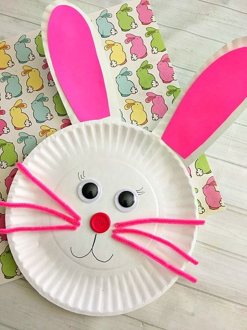 & Cute Bunny Paper Plate Craft for Kids- Fun Easter Kids Craft!