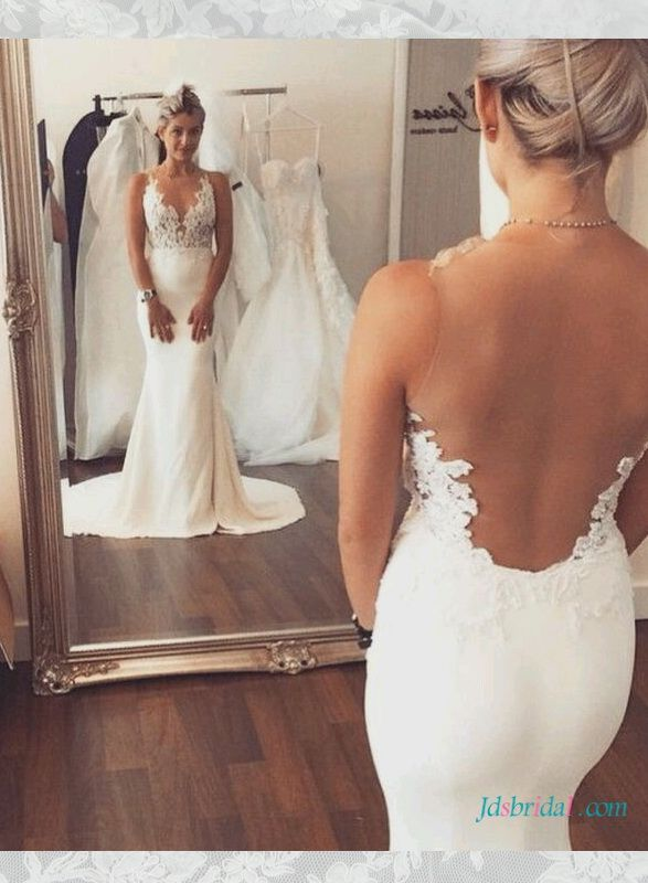 Pin On Backless Wedding Dresses Sexy Open Back Boho Beach With Straps