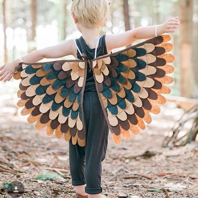 Kostüm Flügel / / hawk, Spatz, Fink, Eule, Huhn / / Schattierungen von Braun / / weich und umklappbare / / Baum + Rebe