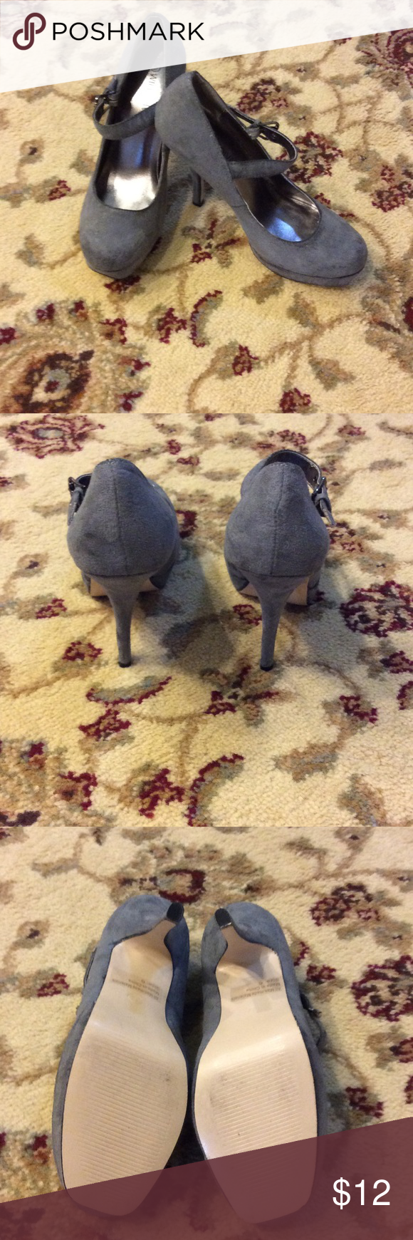 "Darling Gray Faux Suede Platform Heels  👠 Worn only once!  In perfect condition & actually comfy!  Has a 1"" platform in front & a 4 1/2"" spike heel.  Also has 5 grommets on each buckle (however,  there is 1 missing metal ring). Wild Diva Shoes Heels"