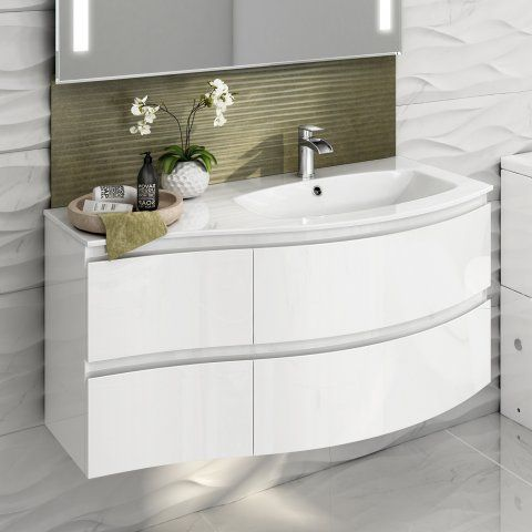 1040mm Amelie High Gloss White Curved Vanity Unit Right Hand Wall Hung White Vanity Bathroom Bathroom Wall Hanging Vanity Units