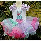 Girls Easter Aqua Bunny Double Ribbon Party Elegance Tutu Set