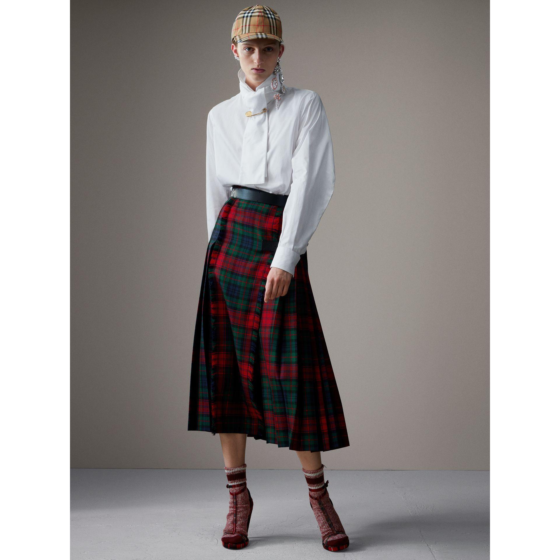 bda1636f39 Falda escocesa de talle alto en lana con motivo tartán (Rojo Intenso) -  Mujer