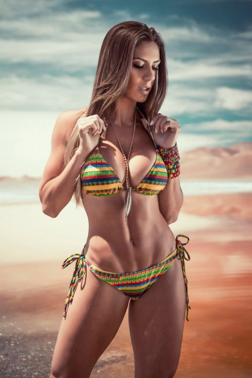 Beauty busty female fitness muscular sexy