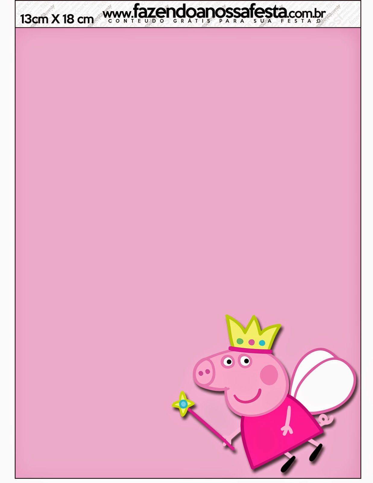 Peppa Pig Fairy: Free Printable Invitations. | Peppa Pig Party ...