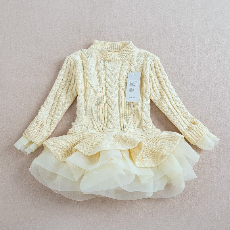 Brand Kids Girls Knitted Sweater Dresses Princess Pullovers ...