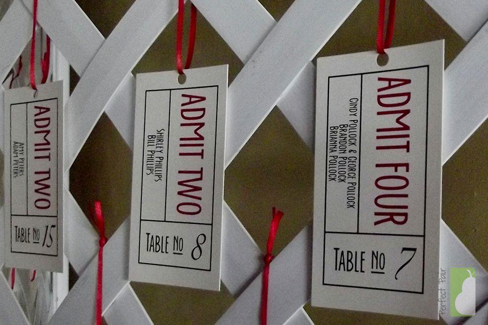 movie ticket stub wedding invitation%0A Vintage Inspired Movie Ticket Wedding Escort   Table Cards