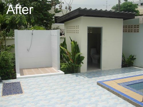 Outdoor bathrooms with toilets the shower is finished for Outdoor pool bathroom ideas