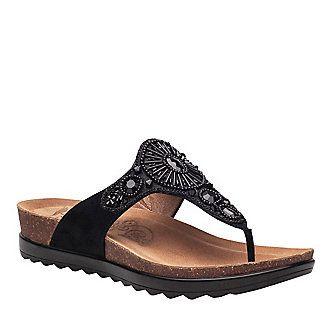 Dansko 1555830200 Women'S Black Jewelled Pamela Thong Sandals - With Box