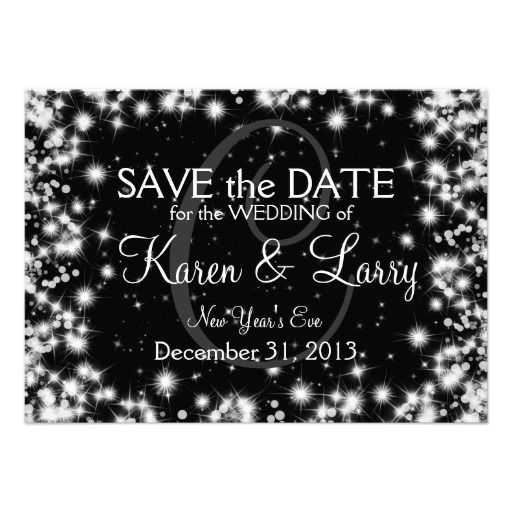Elegant Wedding Save The Date Winter Sparkle Black Custom Announcements