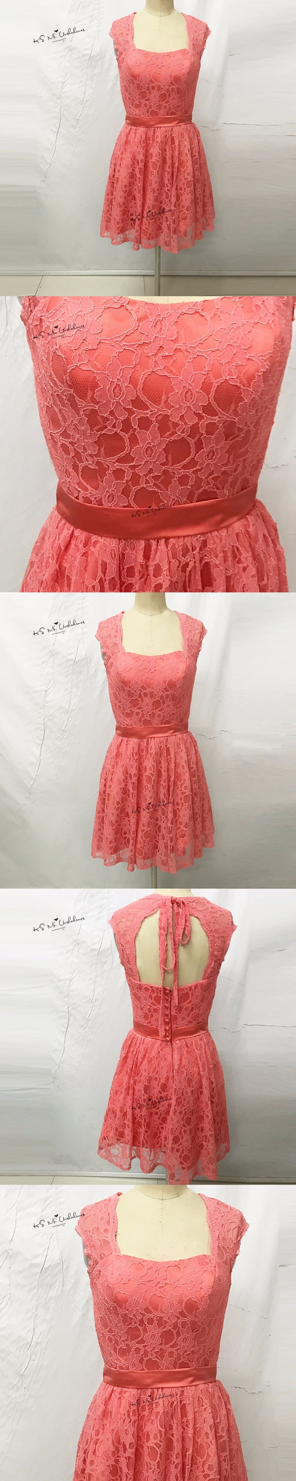 coral pink bridesmaid dress short for girls lace wedding party