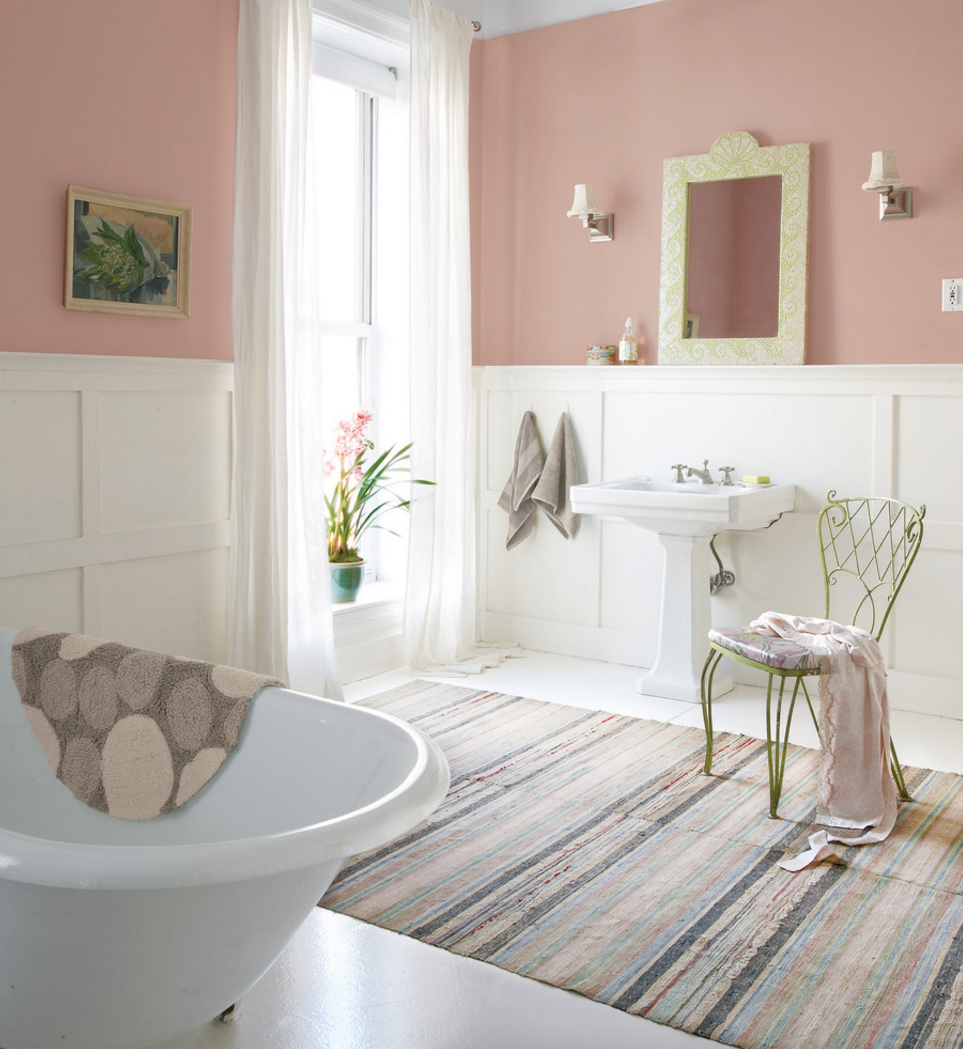 Shabby chic wall paint colors - Country Bathroom Ideas For Small Bathrooms Concept Pictures Breathtaking Country Bathroom Ideas Simple Mirror White Sink Wall Art Gallery Pink Paint Wall