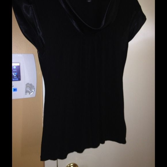 Top FREE WITH $25 PURCHASE...Cute black top. Satin trim on sleeves and neckline. H&M Tops