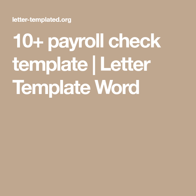 Payroll Check Template  Letter Template Word  Paystub