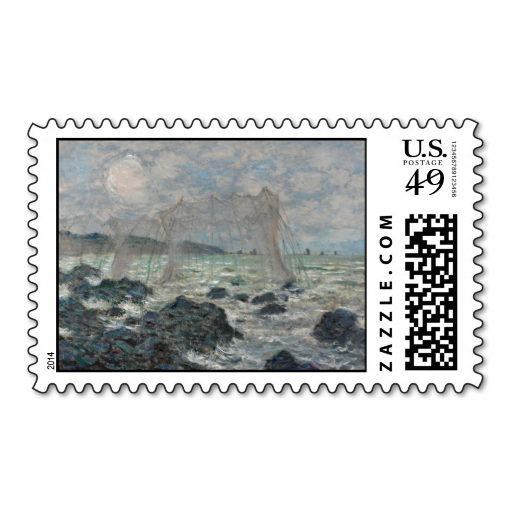 Fishing Nets at Pourville by Claude Monet Postage Stamps
