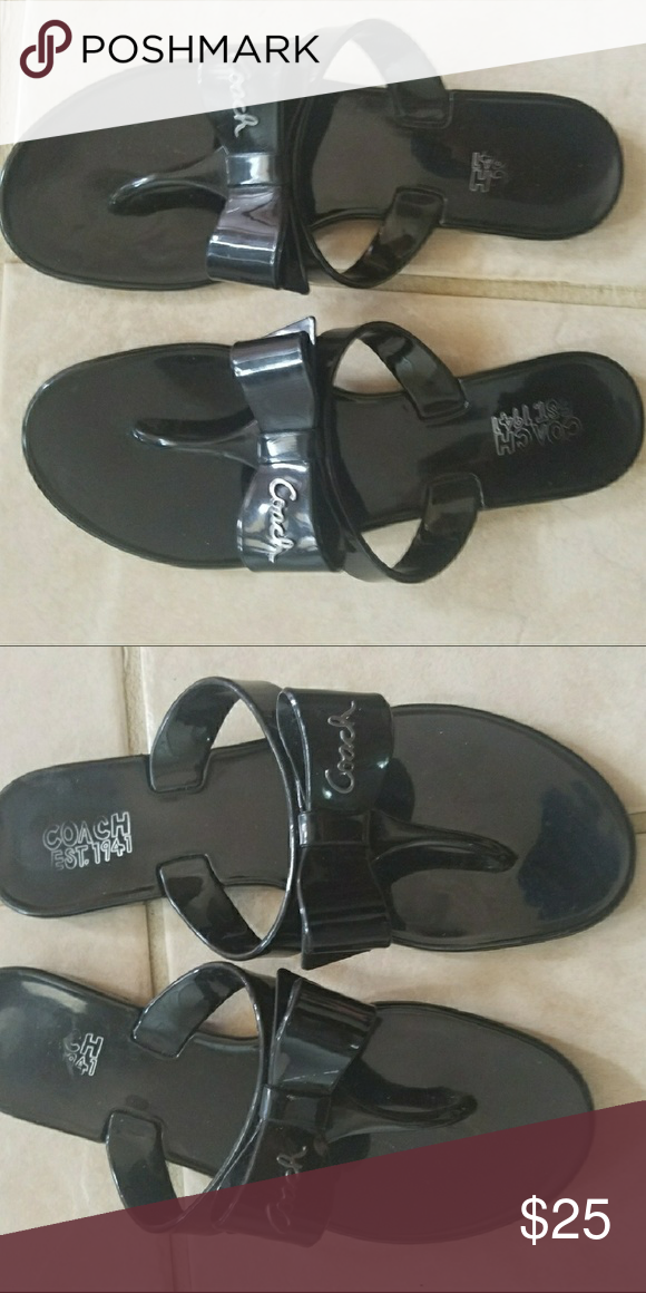 da3904b661ee30 Coach black jelly bow sandal size 6 Pretty bow detail flip flop sandal.  Coach size 6. Coach Shoes Sandals