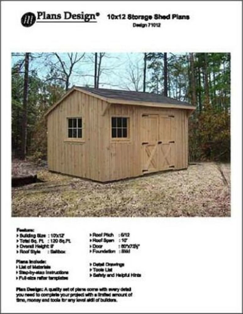 10 X 12 Saltbox Style Storage Shed Project Plans Etsy In 2020 Shed Plans Wood Shed Plans Storage Shed